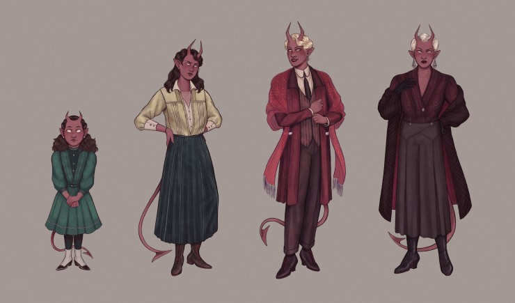 A digital art piece that features character designs for a nonhuman character with pink skin, completely white eyes, pointed horns, and a pointed tail, at different ages in her life. There are four different ages shown: child, teenager, and two different a