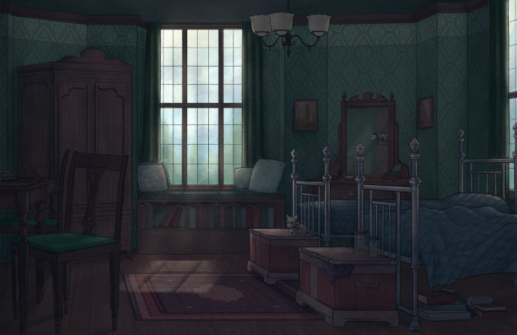 A digital art piece that features a bedroom interior. The walls have a diamond patterned green wallpaper. There are open windows with sunlight streaming into the room. On the right side of the room, there are two twin beds with metal frames and blue sheet
