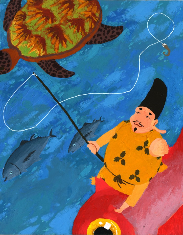 A painting of a portly, pleased-looking physically disabled male deity sits on a carp, holding a fishing rod. Two fish and a sea turtle swim by.