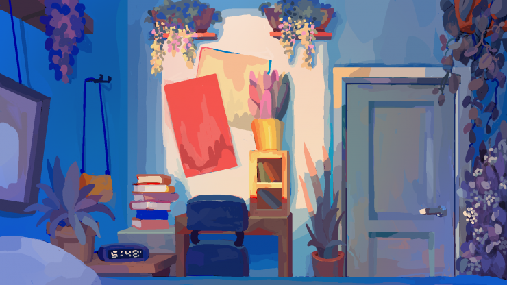 Digital painting of bedroom. Plants border the edges and one plant sits on a desk in the center. Closed door in the center right and bed along the bottom edge.