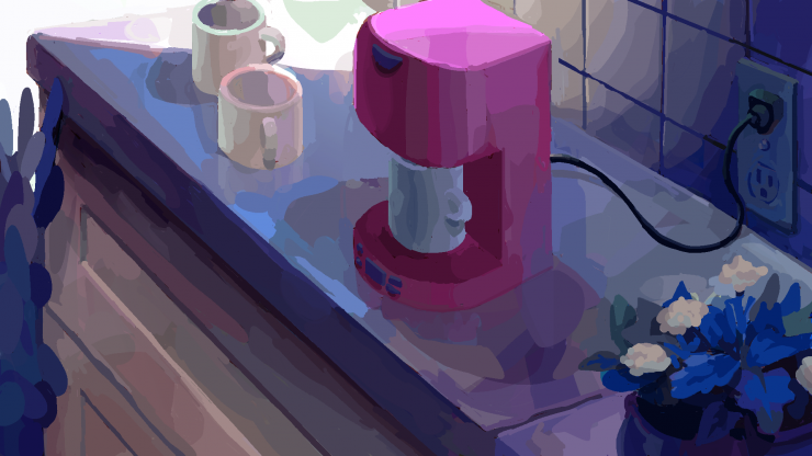Digital painting of kitchen counter with coffee-maker in the center, potted plants on the right and two empty cups on the left.