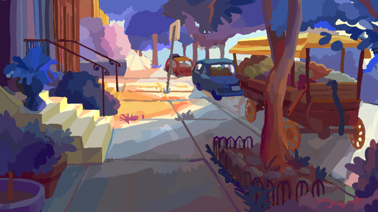 Digital painting of neighborhood. Sidewalk in the center, steps to house entrances along the left edge, a tree and market in the front-right, and cars in the background.