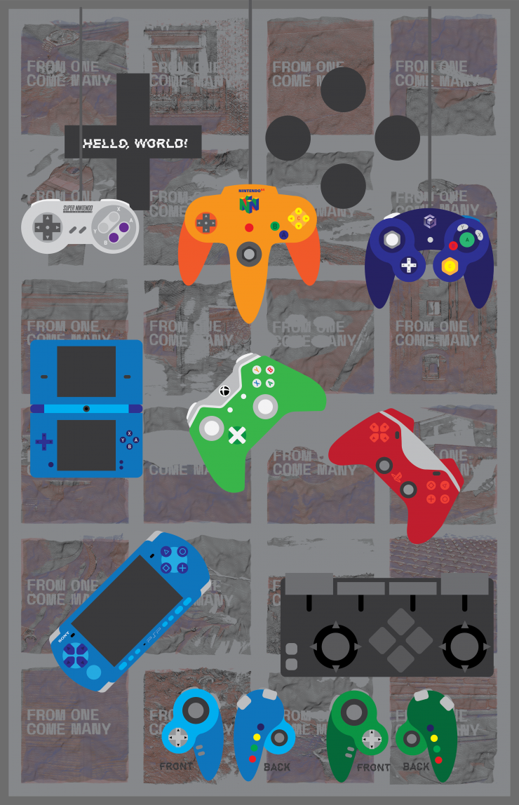 Desk of a gamer, Gamer Flag, Gaming Controller Ideas, Posters
