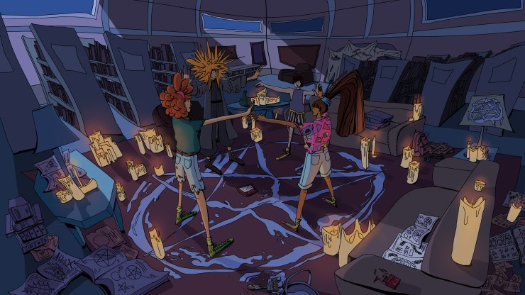 Visual development piece, background scene showing four high schoolers standing in a circle in the middle of a library. There is a painted pentagon on the carpet under their feet and many candles on the couches and side tables around them. Shelves with bo