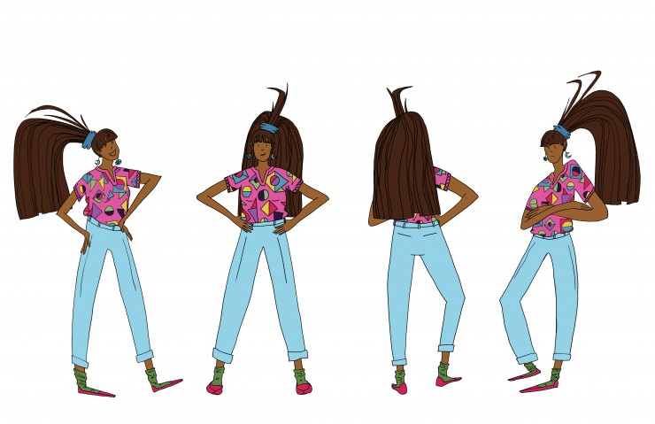 Visual development character design piece of a girl of average height with brown skin and a tall, thick ponytail. She is shown in a 3/4ths view facing right, in a front view, in a back view, and in a 3/4ths view facing left. Her ponytail is high on her he
