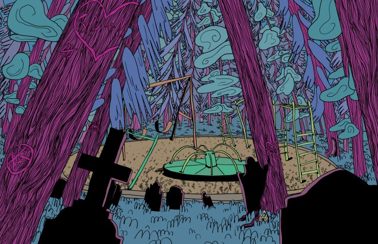 Visual development background showing magenta trees in the foreground on the far left and right sides leaning in towards the middle of piece. In between trees there are multiple gravestones in the grass, leading to a small mulched playground with monkey b