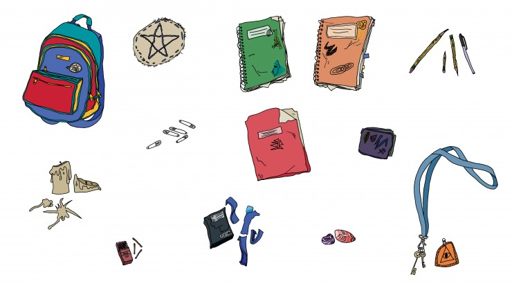 "Visual development piece showing props from visual development project ""Unincorporated."" Piece shows frontal views of a multi-colored backpack, a patch with star sewn in, a green distressed notebook, an orange distressed notebook, multiple chewed yellow p"
