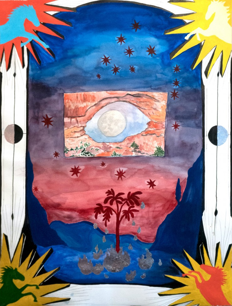 In each corner a horse emerges from a sunburst overlapping a black arch framing a sky of red stars above a red tree dripping silver centered in a mountain scape. Above the tree a rectangular frame displays the moon through a canyon in the shape of an eye.