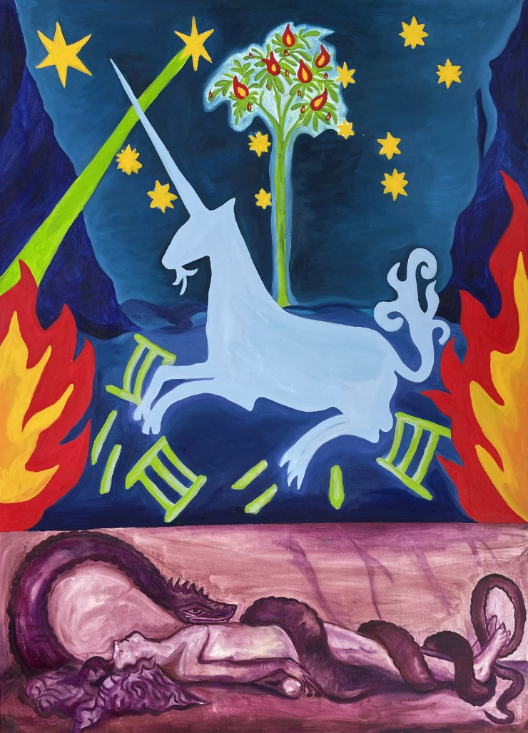 A unicorn surrounded by flames and glittery stars over a bottom magenta layer of a woman entwined with a snake.