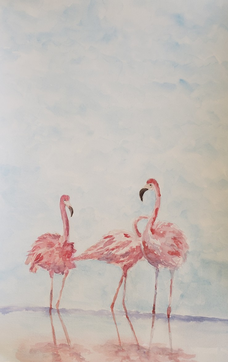 Three flamingoes, colors of purple and pinks on the side of the water.