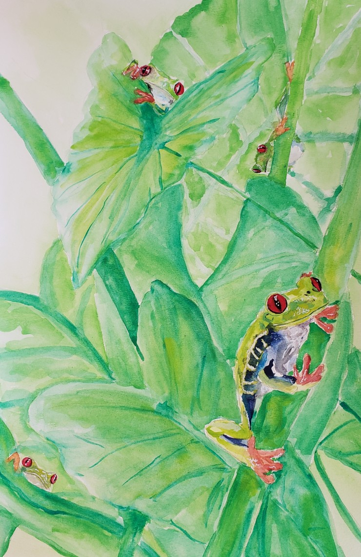 Four frogs hidden in a painting of green, each holding onto a leaf and their red eyes standing out among the crowd.