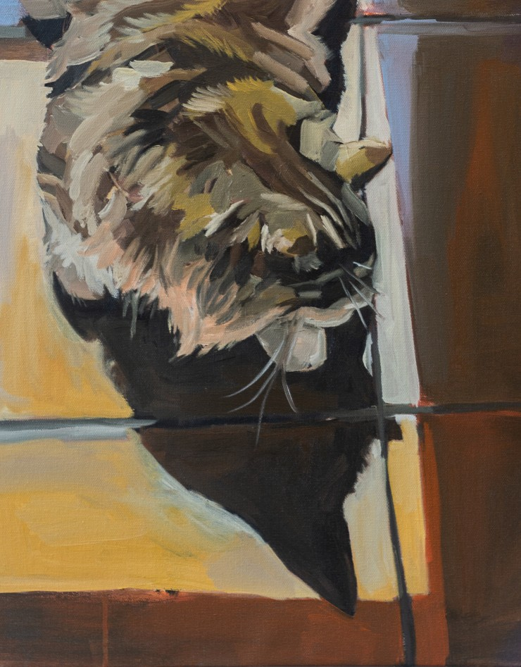 An oil painting of a cat laying on a tiled floor watching its shadow.