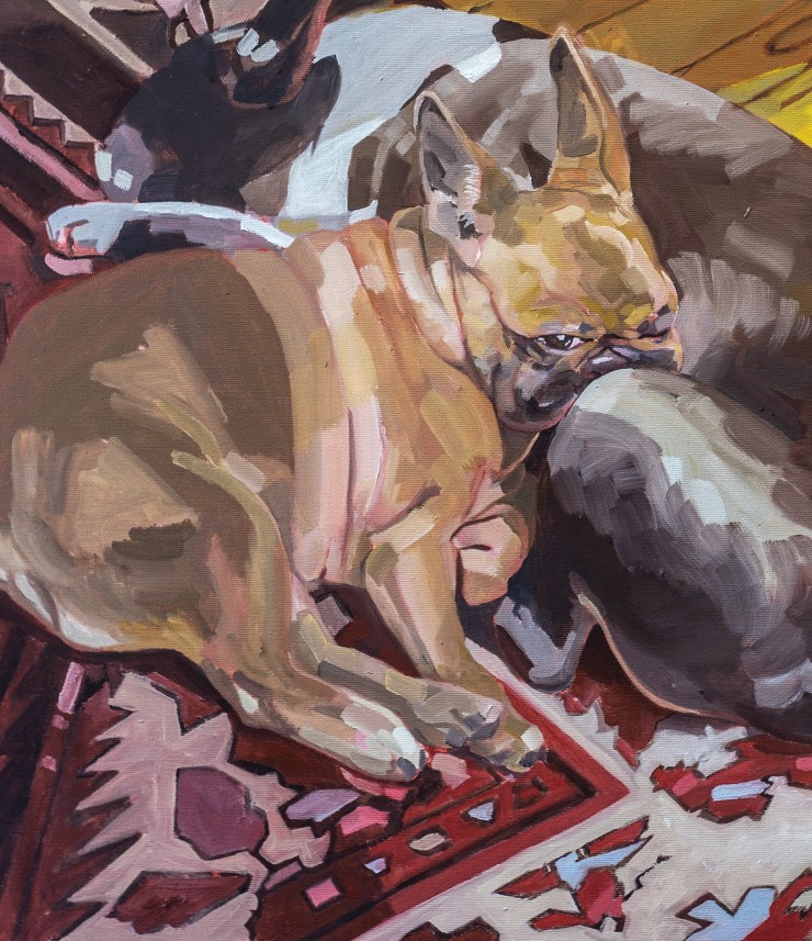 An oil painting of two dog resting on a patterned rug with dogs toys in the background.