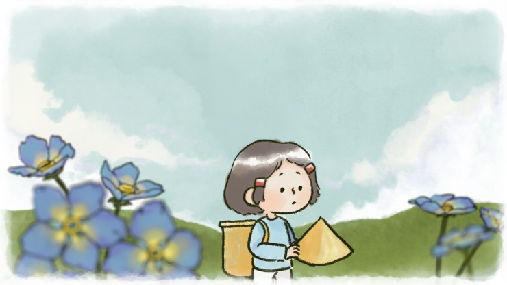 Still images from the 'Granpa's Beans' animation. Shots of the main character Tran and Granpa spending time together eating oranges, main characters on an open field with a bird flying over head, a bean bush, Tran in a flower field holding a Vietnamese st