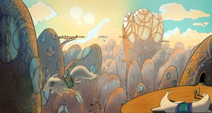 A lively city with ornate buildings and flying creatures with riders. Illustration.
