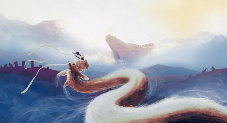 Beast with rider fly across an expansive land with a large head emerging in the distance. Illustration.