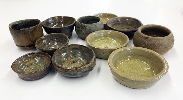 Iron rusted nails water, fermented organic materials glaze/Earthenware bowls.
