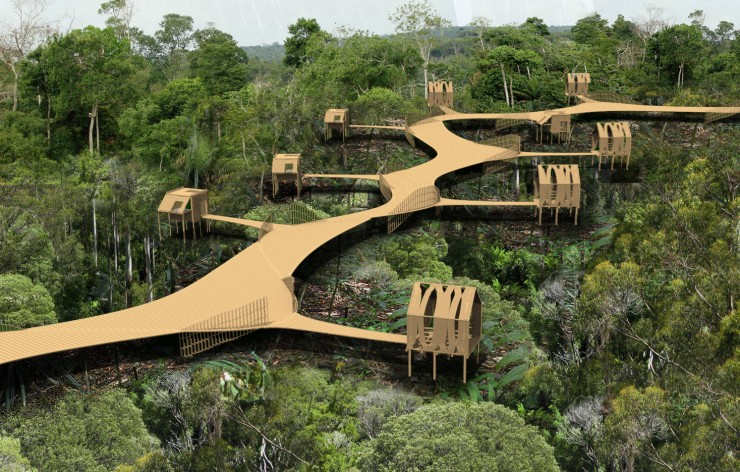 The Bamboo Trail functions as a link between the current site and the new site. Making the transition between these two areas smoother. It is composed of elevated platforms in order to continue to be functional when sea level rises. Along its path people