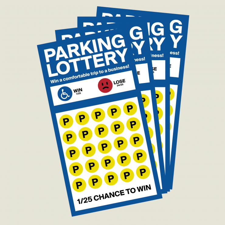 """A diagram using a lottery ticket to satirically represent a single accessible parking space among 25 spaces—the legally required minimum. The ticket claims a """"1/25 chance to win"""" the grand prize: a """"comfortable trip to a business."""""""