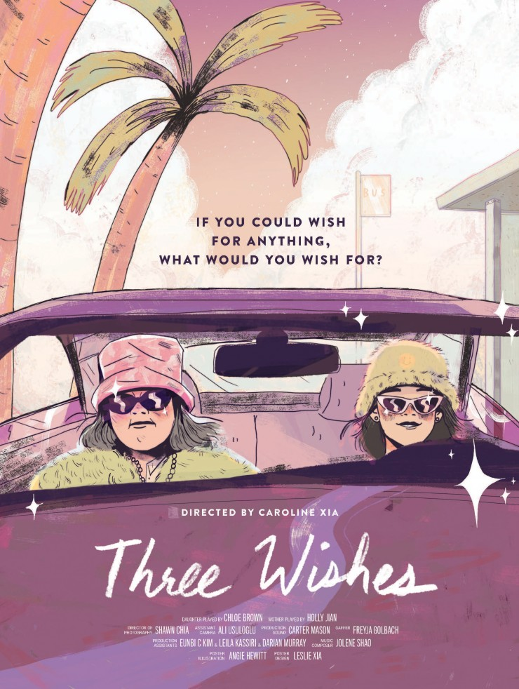 A short film about a single mother and her 11-year-old daughter wait who at a bus stop for a seemingly never coming bus. To pass the time they play a game of three wishes, if they could wish for anything in the world, what would they wish for? The wishes