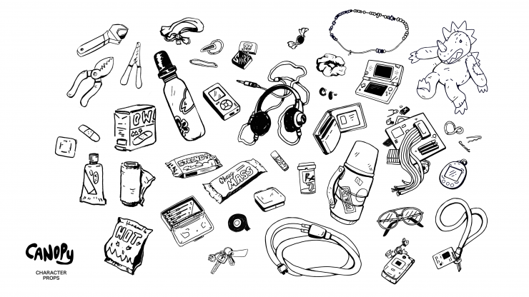 A sheet of character prop designs, including tools, snacks, and random stuff characters would keep in their bags.