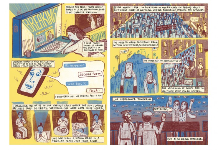 two spreads from a comic drawn in yellow, maroon and blue