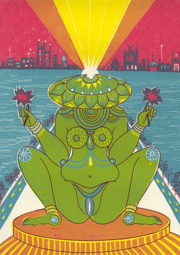 4 color screenprint in teal, yellow, red and maroon, depicting a statue of a lotus-headed female figure flanked by walkways and bodies of water. In the background is a cityscape. A beam of light projects outwards and upwards from her head.