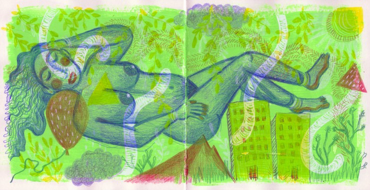Green sketchbook spread showing a nude woman adrift and asleep with a city visible around her