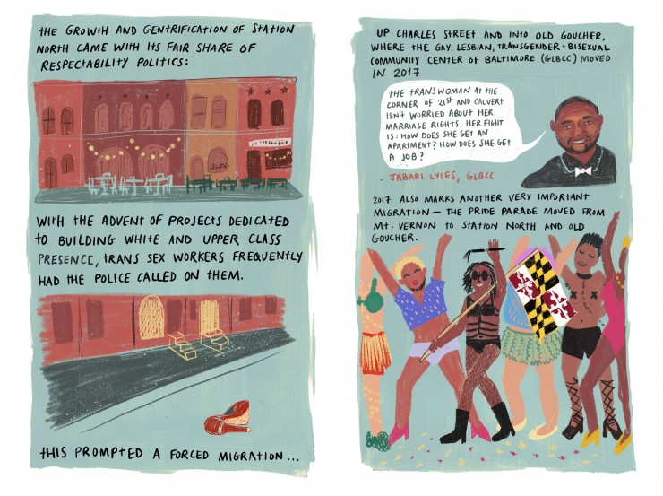 Spread from comic about queer neighborhoods in Baltimore, drawn digitally