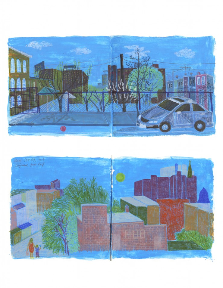 Two sketchbook spreads showing exterior spaces in Baltimore. The background is blue and cityscapes are drawn with color pencil on the blue background.