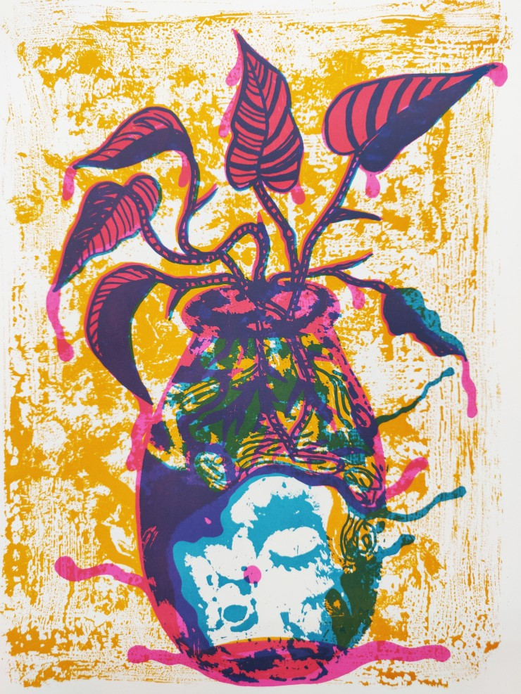 3 color screenprint using pink, orange and teal of a flower vase, out of which grows a singing plant with leaves dripping with liquid.