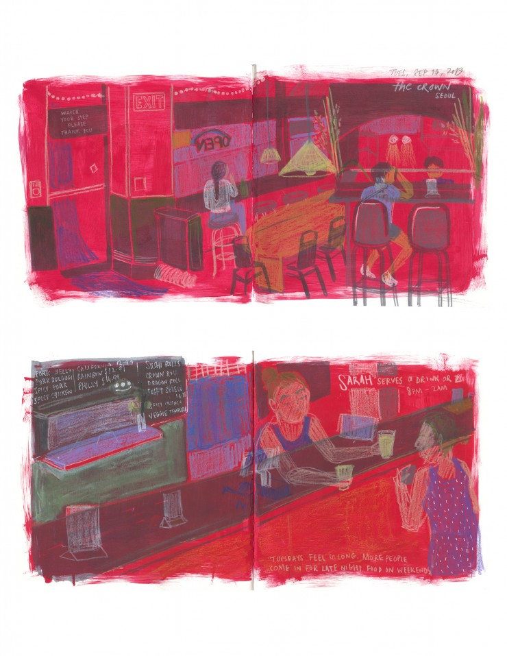 Two pages from a sketchbook showing spreads of indoor spaces of The Crown, Baltimore. The background is red.