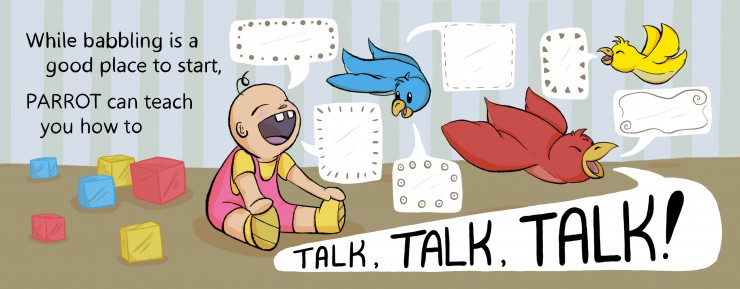 A baby sits on the left with its mouth wide open. Three birds circle between the pages, with speech bubbles full of abstract shapes filling the page.