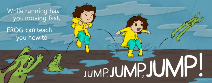 It is a rainy day, and the girl jumps between the pages into a muddy puddle. Frogs are on either side of her, jumping as well.