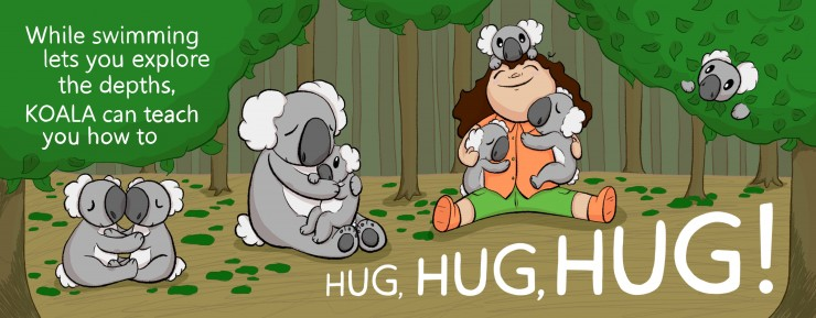 The girl sits on the right in a thicket of trees. Koalas surround her; three babies hug her, a mother hugs another baby, two are hugging in the bottom left, and one hides in a tree in the upper left.