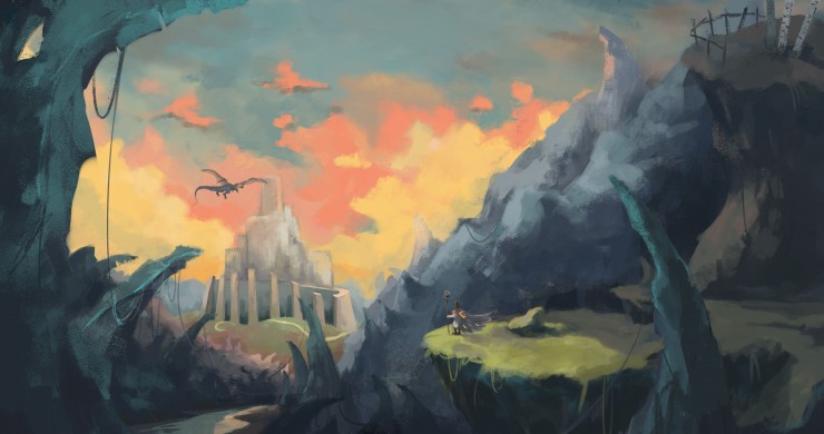 Concept environment designs for imagined dragon lands.