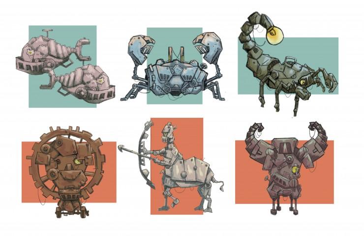 Robotic Zodiac in steam-punk world.