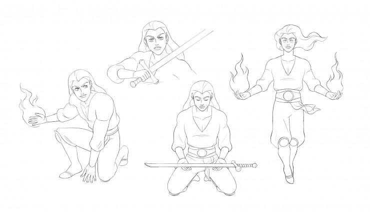 Character design turnaround, facial expression exploration sheet, and pose exploration sheet. All depict a young man with pink skin and hair, wearing a white shirt, dark blue pants, and golden armbands, belt, and leg armor.