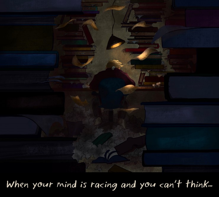 An illustration of a boy studying in a dark room surrounded by books and papers.