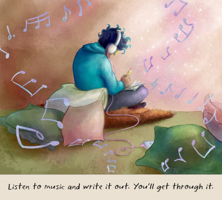 An illustration of a boy sitting down and writing while listening to music.