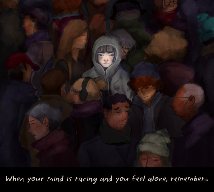 An illustration of a girl looking sad in a crowd of people.