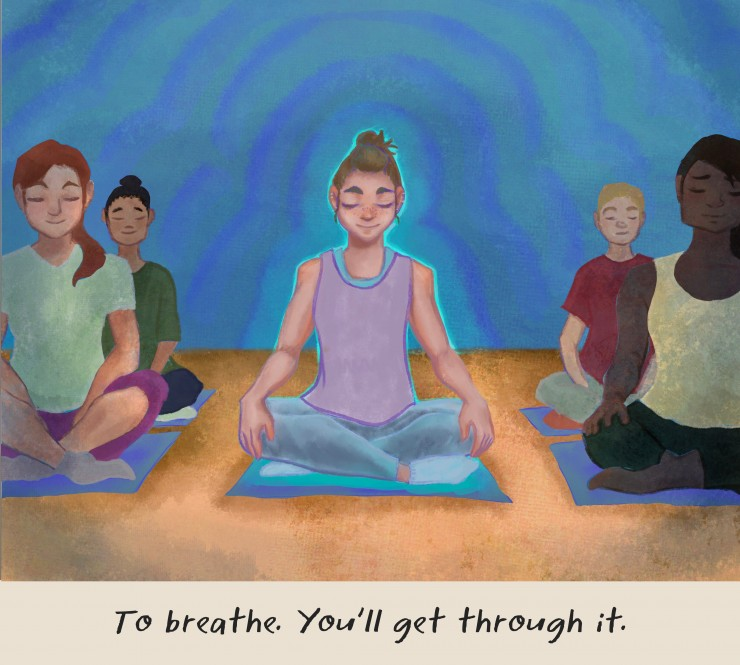 An illustration of a girl meditating in a class.