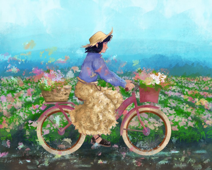 An illustration of a girl riding a bike in a flower field.
