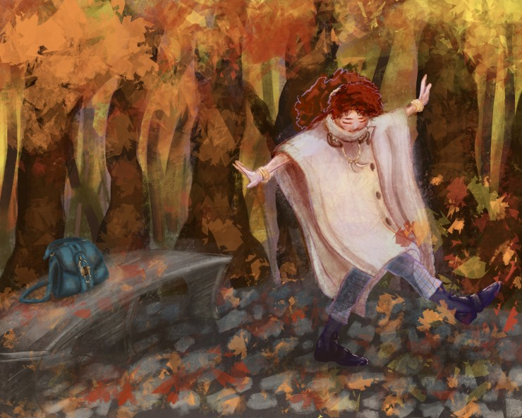 An illustration of a girl kicking leaves in a park.