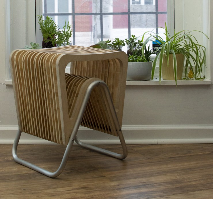 Stool made of cantilevered wooden slats and aluminum frame