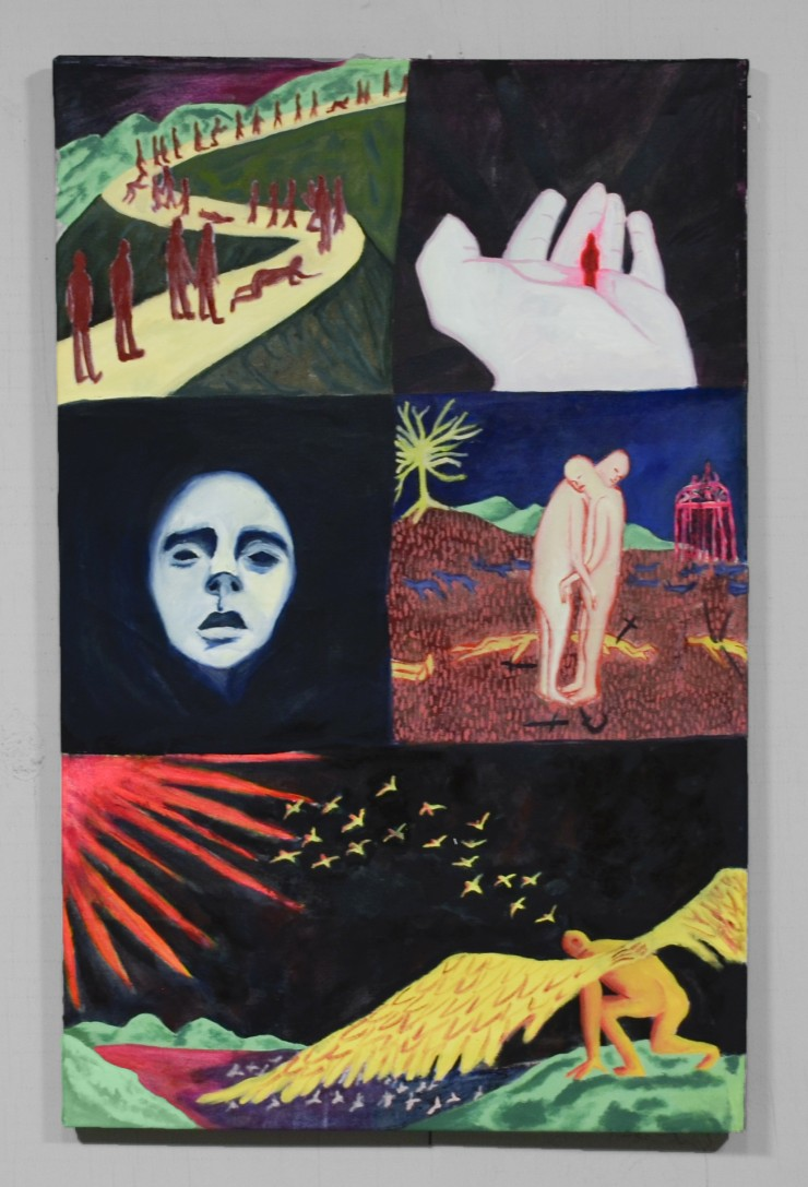 painting with 5 panels from left to right: figures on a path winding into the background, tiny figure in a big hand in a black void, pale face emerging from a dark void, two figures embracing on a battlefield, and a winged figure crouching getting ready t