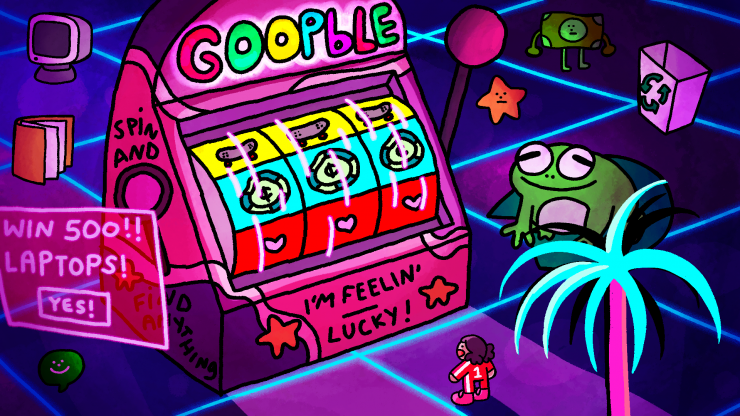 "Trouble stands in front of a casino machine with the words ""Goobple"" on it."