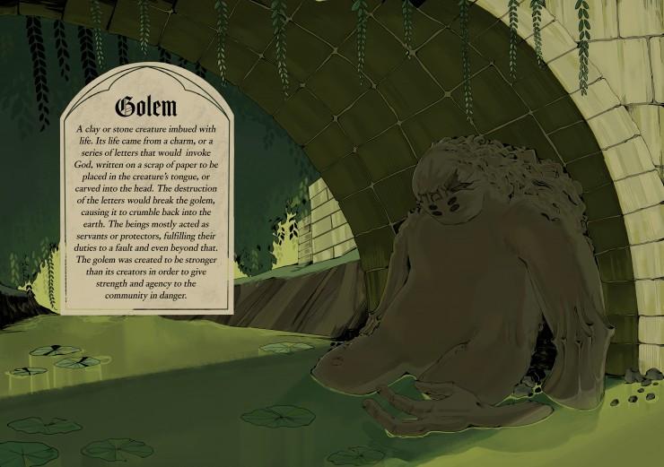 A crumbling golem underneath a stone bridge.