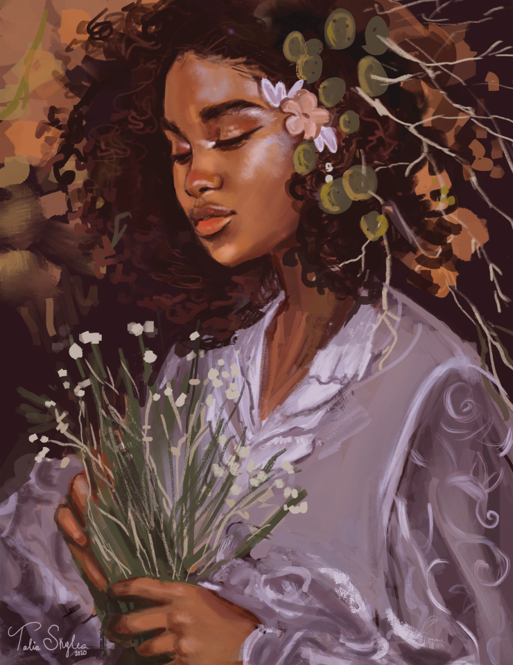 A mixed media painting of a black girl surrounded by plants looking down contemplatively.
