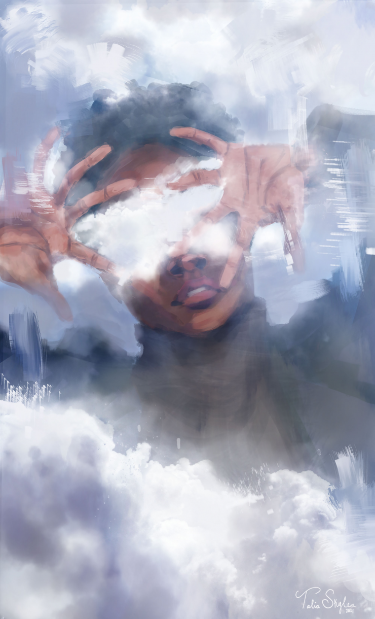 A digital painting and photo collage of a black girl surrounded by clouds. Her hands are up covering her face and her eyes are also obscured by white fluffy clouds.